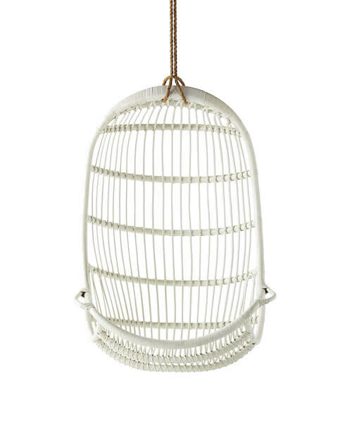 All White Rattan Hanging Egg Chair